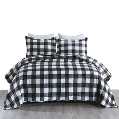 MarCielo 3Pcs Buffalo Plaid Check Quilt Bedspread Set B020