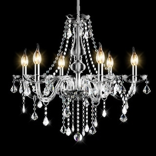 Link to Costway Elegant Crystal Chandelier Modern 6 Ceiling Light Lamp Pendant - 24.5''x22'' Similar Items in Outdoor Wall Lights