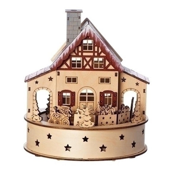 "8.75"" Beige and Brown 2 Pieces LED Revolving Train with Xmas Trees Decorative Table Toppers"