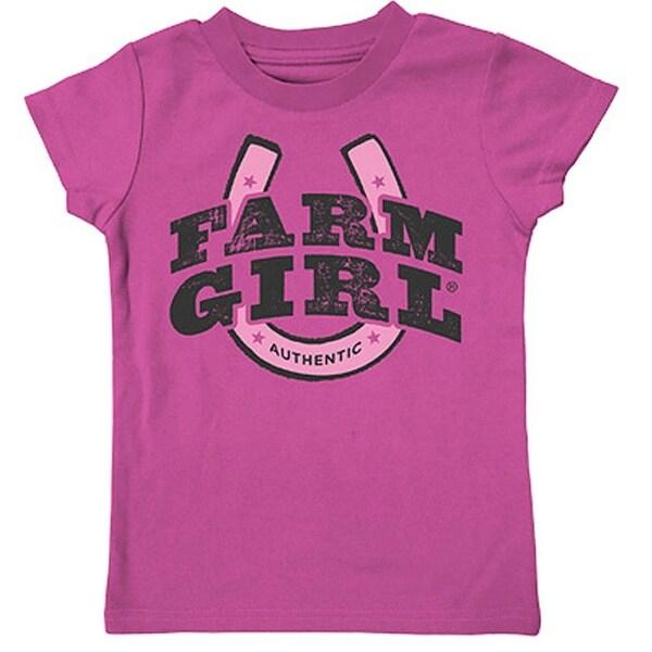 Farm Girl Western Shirt Horseshoe Short Sleeve Tee Pink