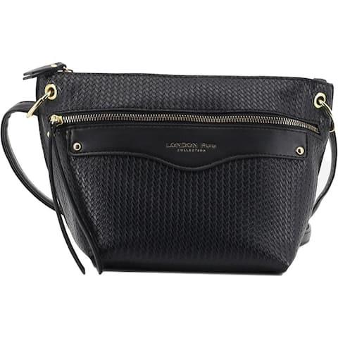 London Fog Alphina Women's Embossed Faux Leather Signature Crossbody Handbag - Small