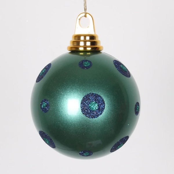 "Candy Teal Green with Sea Blue Glitter Polka Dots Christmas Ball Ornament 4.75"" (120mm)"