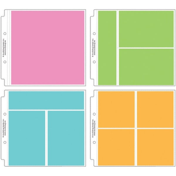 """Doodlebug Page Protector Assortment 8""""X8"""" 12/Pkg-3 Each Of All 4 Styles"""