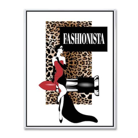 Designart 'Fashionista Illustration Of Red Dress Woman On Leopard Pattern' Modern & Contemporary Framed Canvas Wall Art Print
