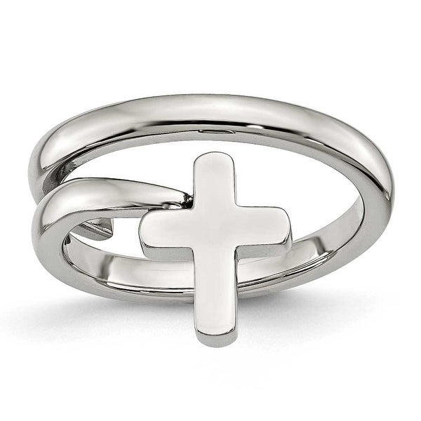 Chisel Stainless Steel Twisted Cross Polished Ring (13 mm)