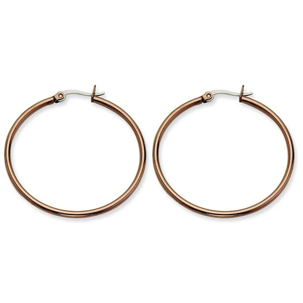 Chisel Stainless Steel Brown IP 40mm Hoop Earrings