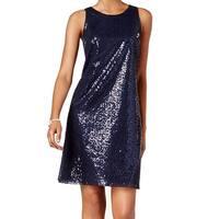 MSK Midnight Blue Womens Size 16 Sequin Scoop-Neck Sheath Dress