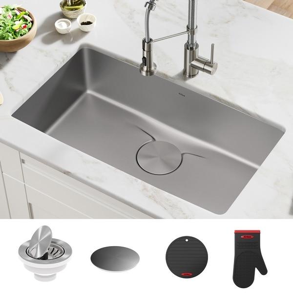 KRAUS Dex Stainless Steel Single Bowl Undermount Kitchen Bar Sink. Opens flyout.