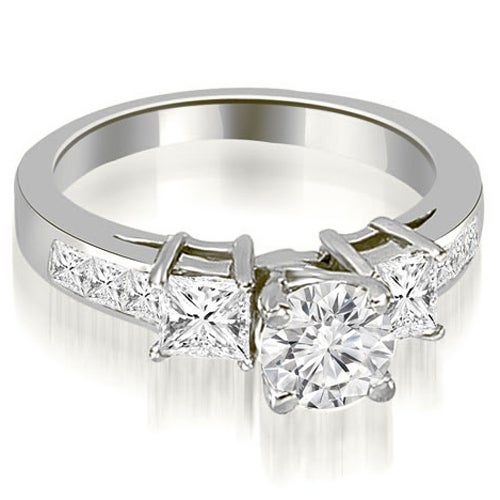 1.75 cttw. 14K White Gold Channel Princess and Round Diamond Engagement Ring