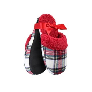 Charter Club White Red Printed Flannel Slippers .-. M