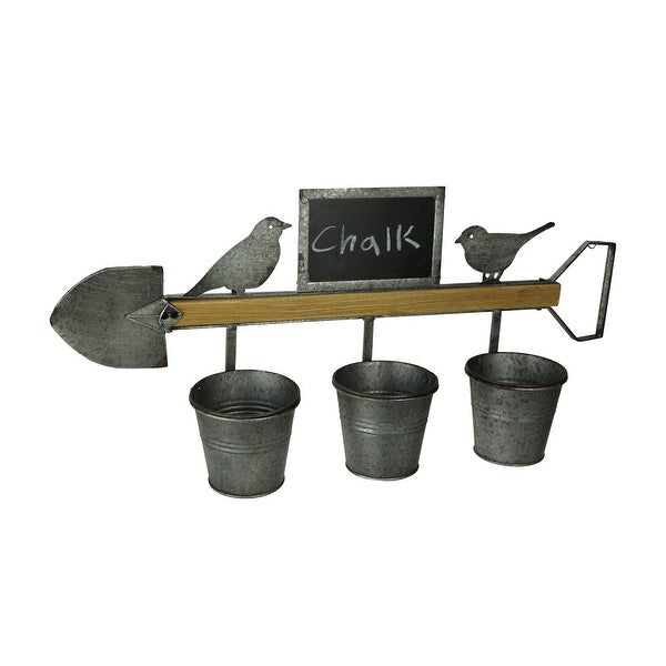 Farmhouse Birds and Shovel Wall Mount Triple Planter with Chalkboard - 12.5 X 27.5 X 6.25 inches