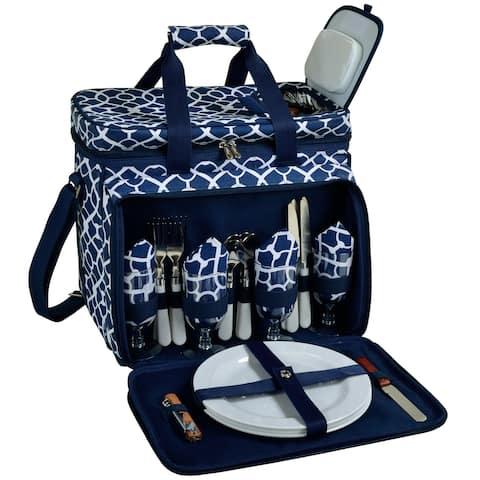 Picnic at Ascot Trellis Blue Picnic Cooler for 4 (230-TB)