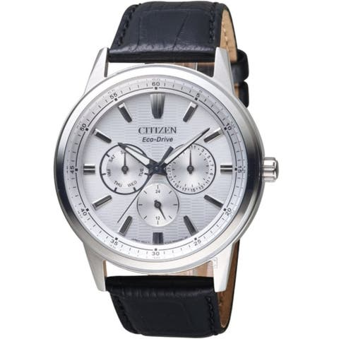 Citizen Men's BU2071-01A 'Eco-Drive' Black Leather Watch - Silver