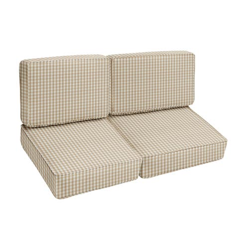 Beige White Check Indoor/Outdoor 4 pc Cushion Loveseat Set - Corded - 23 in x 47 in x 23 in - 23 in x 47 in x 23 in