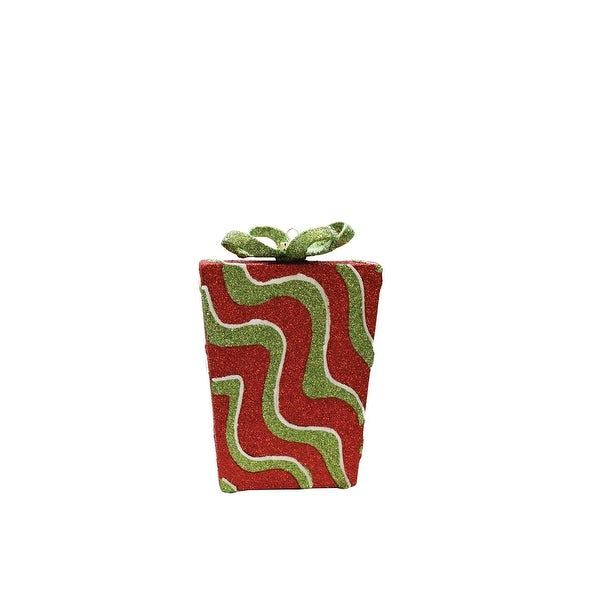 "6"" Merry & Bright Red,Green and White Glitter Swirl Shatterproof Gift Box Christmas Ornament - RED"