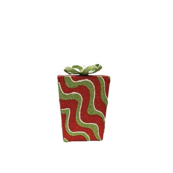 "6"" Merry & Bright Red,Green and White Glitter Swirl Shatterproof Gift Box Christmas Ornament"