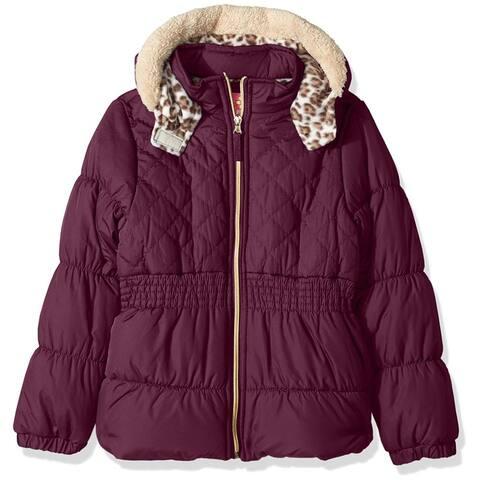 Pink Platinum Little Girls 4-6X Faux Fur Quilted Cheetah Jacket - Black