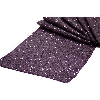 """12 Pieces, Glitz Sequin Table Runner Sequin all over on Taffeta base Approx. 12""""x108"""" - Plum"""
