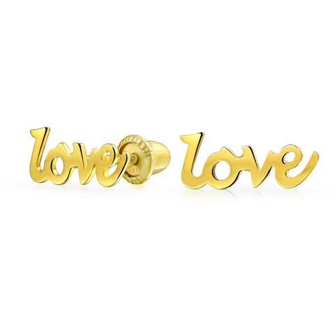 Tiny Minimalist Love Word Stud Earrings For Women For Teen Girlfriend Real 14K Yellow Gold Screwback