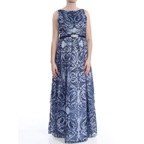 6d7ba97b88 JESSICA HOWARD Womens Blue Belted Printed Formal Dress Size  10