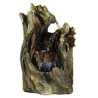 Sunnydaze Cascading Caves Waterfall Tabletop Fountain with LED Lights, 14 Inch Tall