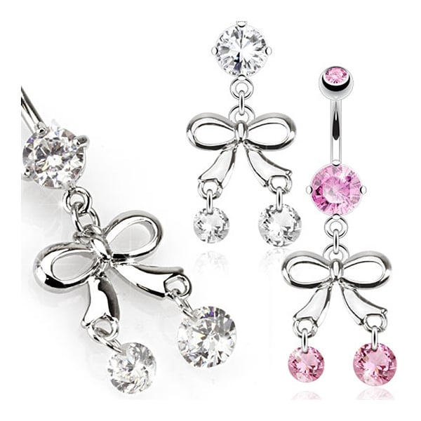 Ribbon with Round Gem Dangles Navel Belly Button Ring 316L Surgical Steel (Sold Ind.)