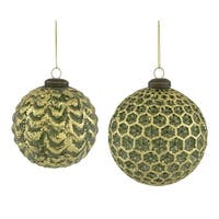 """Club Pack of 24 Green and Gold Textured Christmas Hanging Ball Ornaments 4"""""""