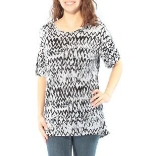 Womens Gray Chevron Short Sleeve Crew Neck T-Shirt Top Size XS