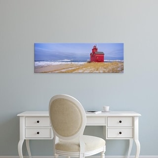 Easy Art Prints Panoramic Images's 'Lighthouse at the lakeside, Lake Michigan, Holland, Michigan, USA' Canvas Art
