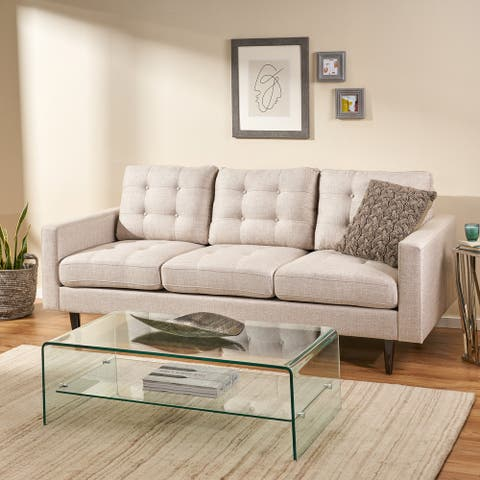 Adderbury Contemporary 3-seat Tufted Fabric Sofa by Christopher Knight Home