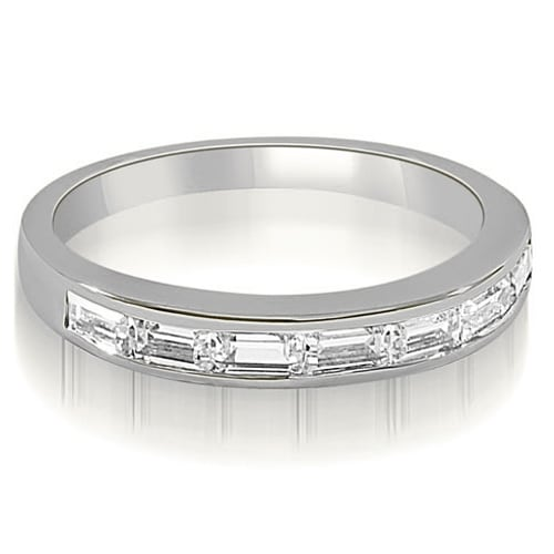 0.70 cttw. 14K White Gold 7-Stone Channel Set Baguette Diamond Wedding Band