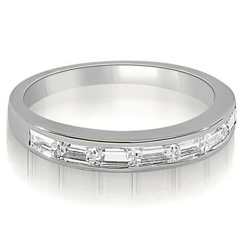 0.70 cttw. 14K White Gold 7-Stone Channel Set Baguette Diamond Wedding Band