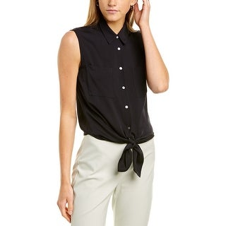 Link to Theory Tie-Front Silk-Blend Shirt Similar Items in Outfits