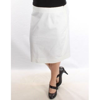 CHARTER CLUB 1142 Womens 1604 White Knee Length Pencil Wear To Work Skirt 4 B+B