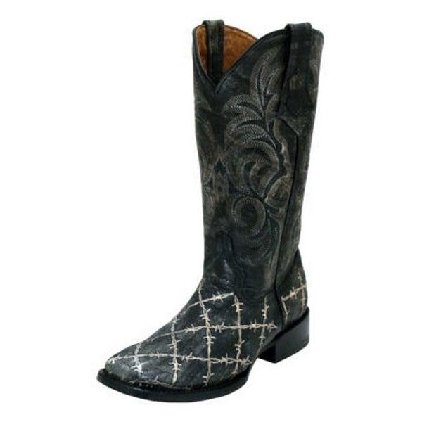 Ferrini Western Boots Womens Barbed Wire Block Heel Square Toe