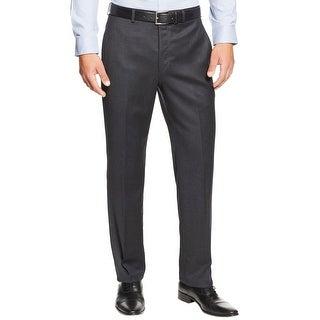 Ralph Lauren Big and Tall Flannel Flat Front Dress Pants Charcoal 42 x 32