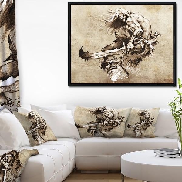 Designart Warrior Fighting Tattoo Art Abstract Portrait Framed Canvas Print Overstock 18953049