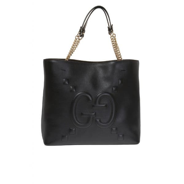 Shop Black Friday Deals On Gucci Embossed Gg Dadini Apollo Double Top Handle Tote Chain 453561 Overstock 29895544