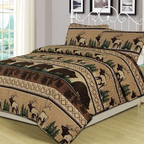 Rustic 3 Piece Quilt Set Elk Bear Cabin King Size