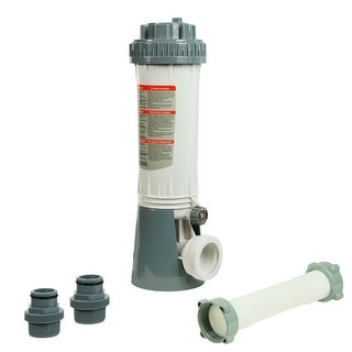 """16"""" White and Green Automatic Swimming Pool Chlorine Feeder Kit with Threaded Nut Hose Connection"""
