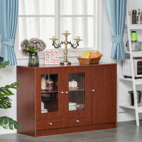 HOMCOM Kitchen Buffet Table Cabinet Storage Sideboard Server Console with Framed Acrylic Doors and Tabletop, Brown