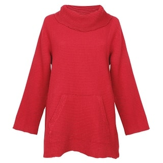 Women's Cowl Neck Tunic Sweater - Waffle Weave Top (Option: Green)|https://ak1.ostkcdn.com/images/products/is/images/direct/78753e05ded6a300a25dda44324f75f5f808de33/Women%27s-Cowl-Neck-Tunic-Sweater---Waffle-Weave-Top.jpg?impolicy=medium