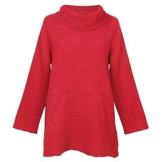 Women's Cowl Neck Tunic Sweater - Waffle Weave Top