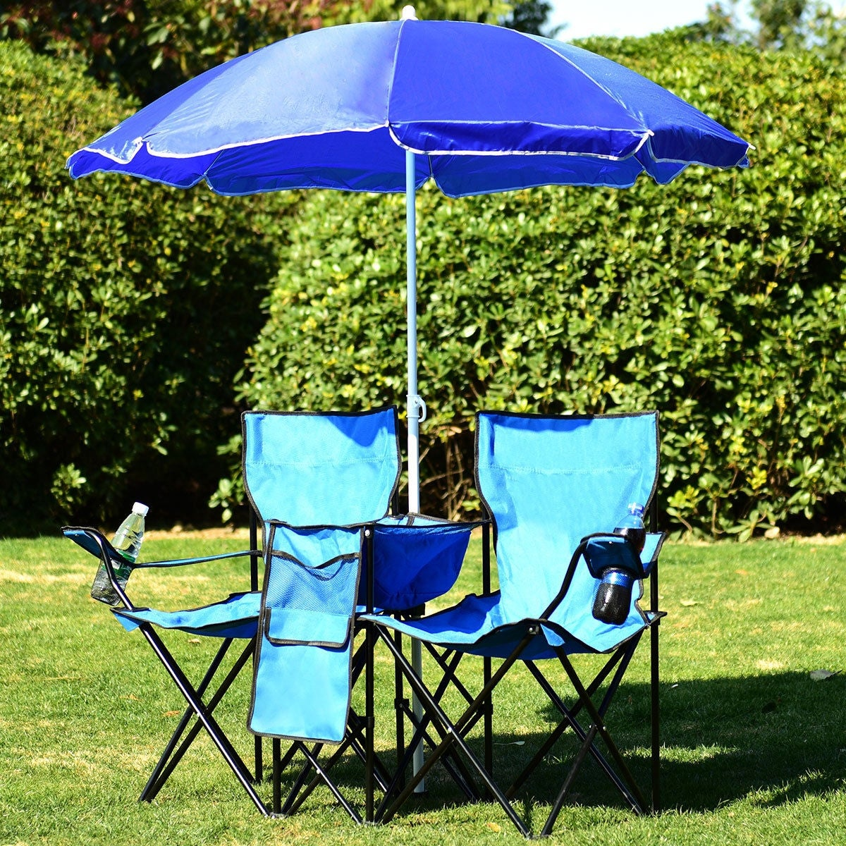 Costway Portable Folding Picnic Double Chair W Umbrella Table Cooler Beach Camping Blue Free Shipping Today 16738353