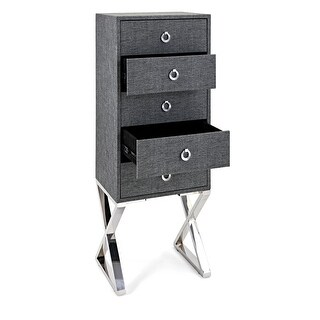 47 Gray and Silver Colored Contemporary Pattern Drawer Cabinet with X Shaped Legs