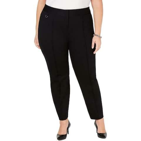 Alfani Women's Pants Black Size 20W Plus Pintuck Skinny Leg Stretch