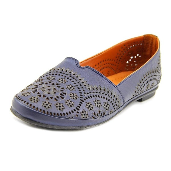 Spring Step Yanick Women Round Toe Leather Blue Loafer