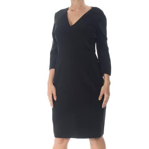 NARCISO RODRIGUEZ Black Long Sleeve Knee Length Sheath Dress Size 8