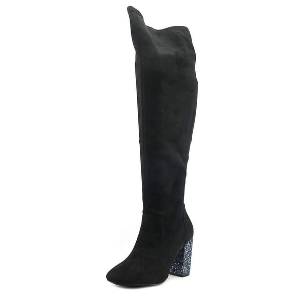 Mix No 6 Huven Women Round Toe Suede Black Over the Knee Boot