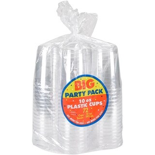 Big Party Pack Plastic Cups 10oz 72/Pkg-Clear - Clear